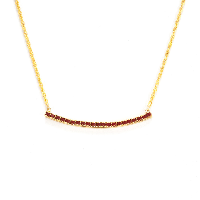 Liz Palacios Crystal Bar Necklace in Deep Coral