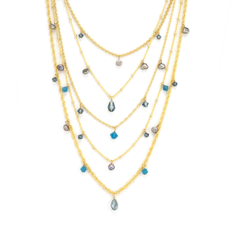 Liz Palacios Layers Necklace in Blue