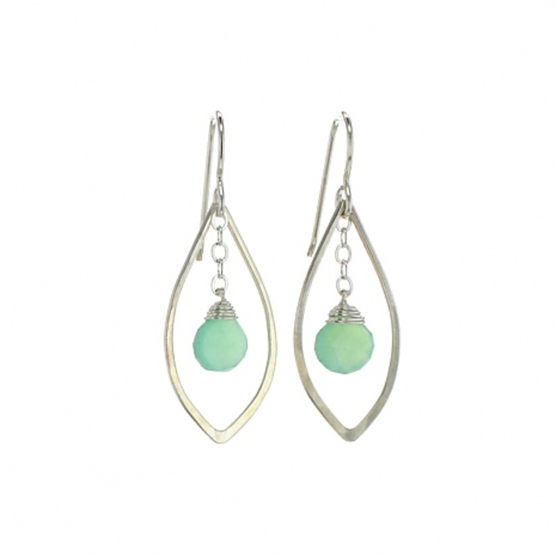 Lotus Jewelry Studio Ingress Earrings in Silver and Chrysoprase