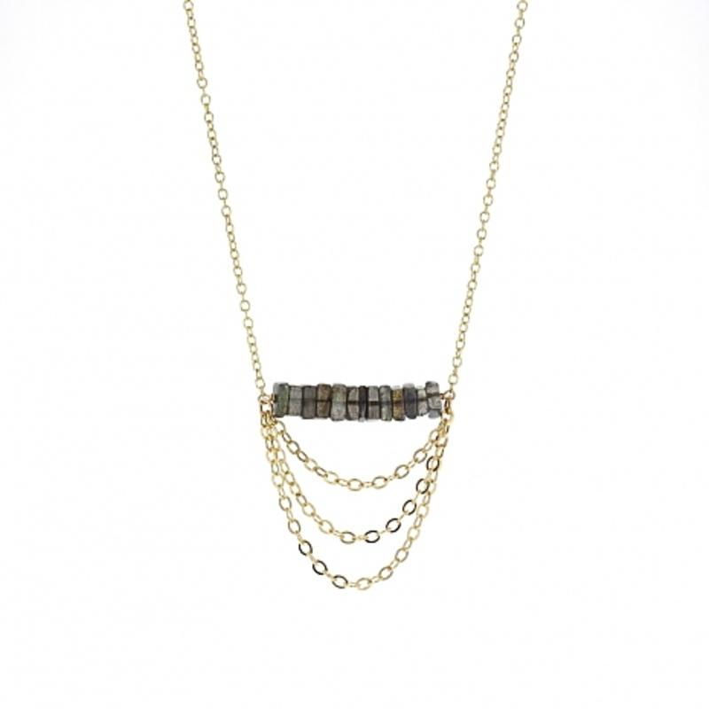 Lotus Jewelry Studio Zephyr Necklace in Gold and Diamond Labradorite