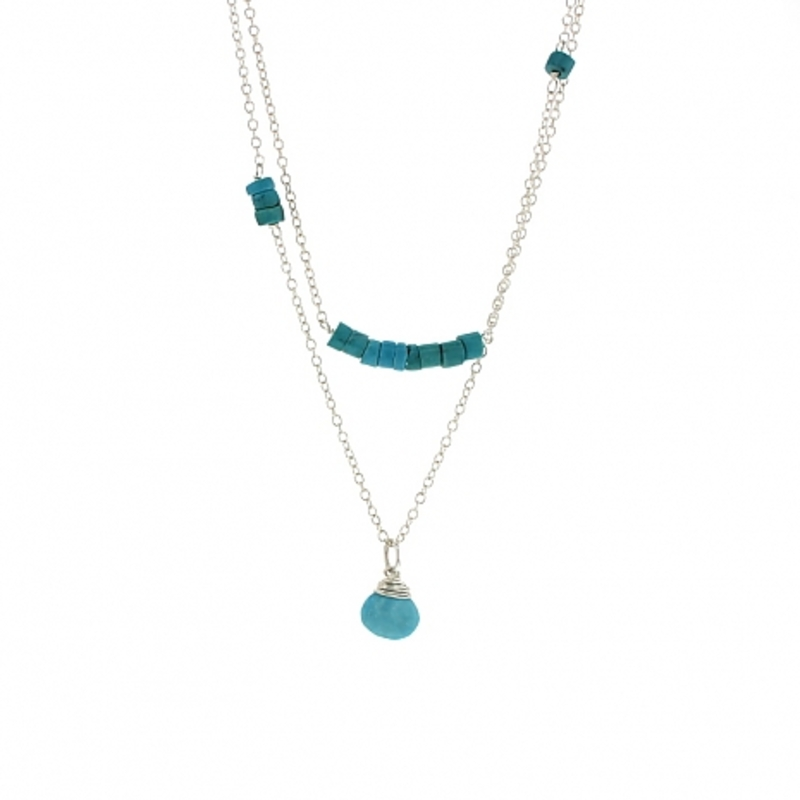 Lotus Jewelry Studio Arcadia Necklace in Silver and Turquoise