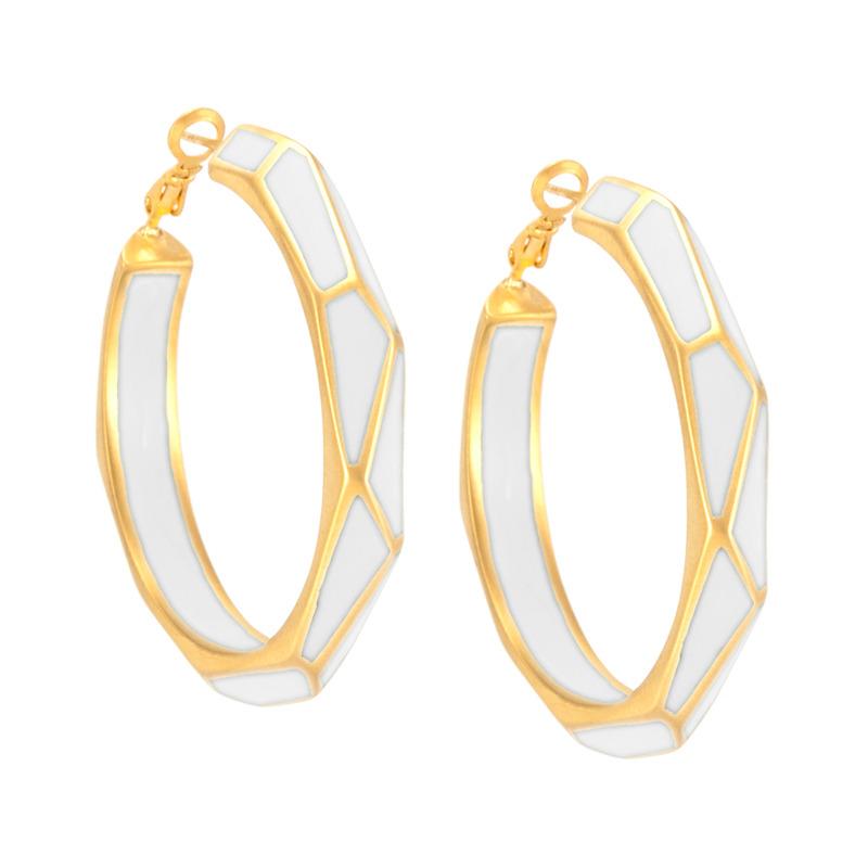 Isharya Louvre Hoop Earrings in White