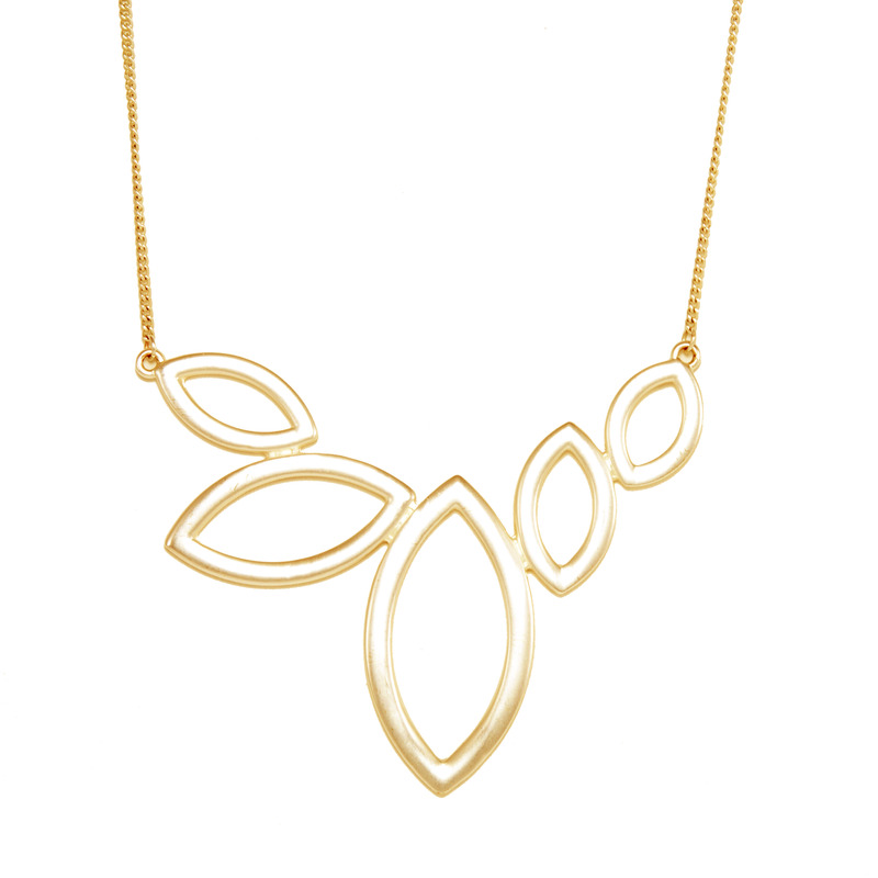 Urban Gem Marquise Hollows Necklace in Gold