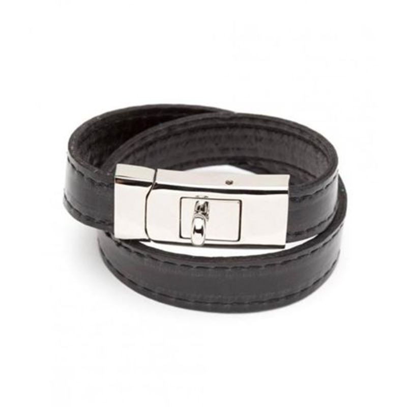 CC Skye Double Wrap Portico Bracelet in Silver and Black Leather