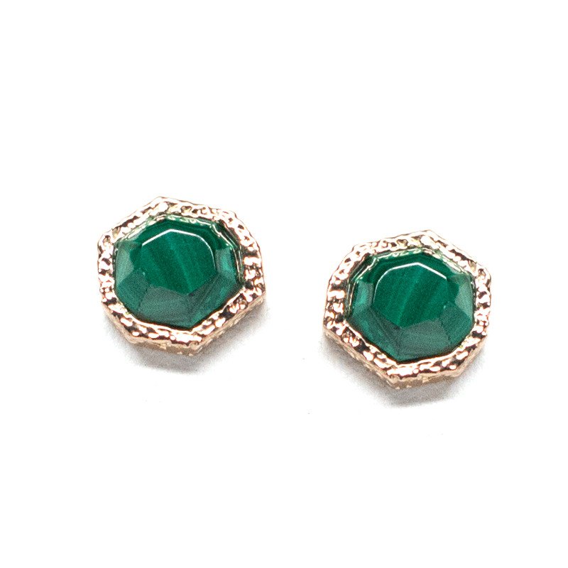 Isharya Goddess Stud Earrings in Green Malachite