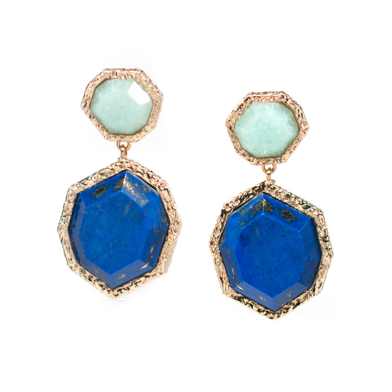 Isharya Goddess Two Stone Earrings in Amazonite and Lapis
