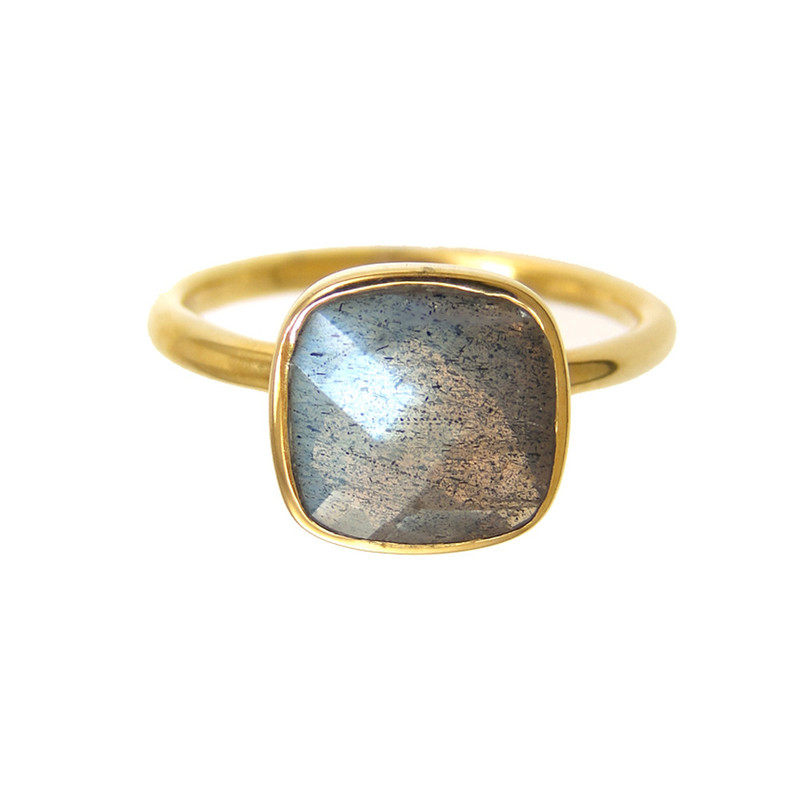 Margaret Elizabeth Cushion Cut Ring in Labradorite