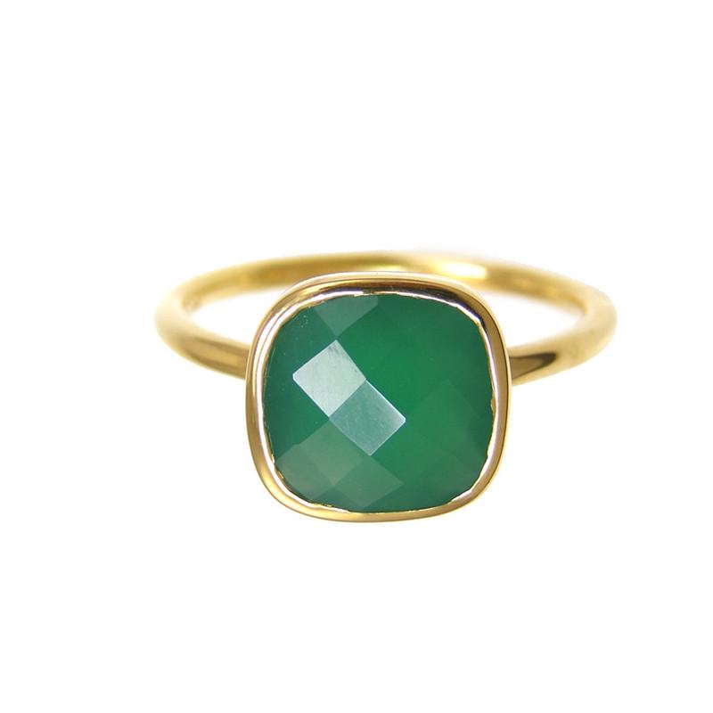 Margaret Elizabeth Cushion Cut Ring in Emerald Onyx