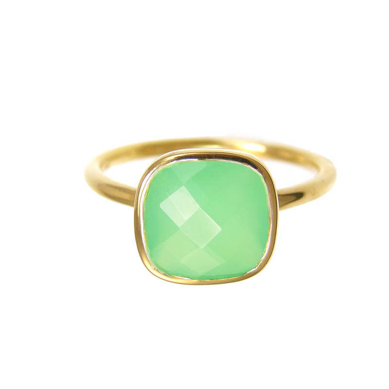 Margaret Elizabeth Cushion Cut Ring in Chrysoprase