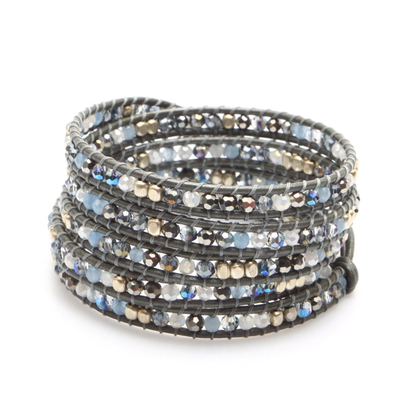 Nakamol Mixed Crystals Five Times Black Leather Wrap Bracelet
