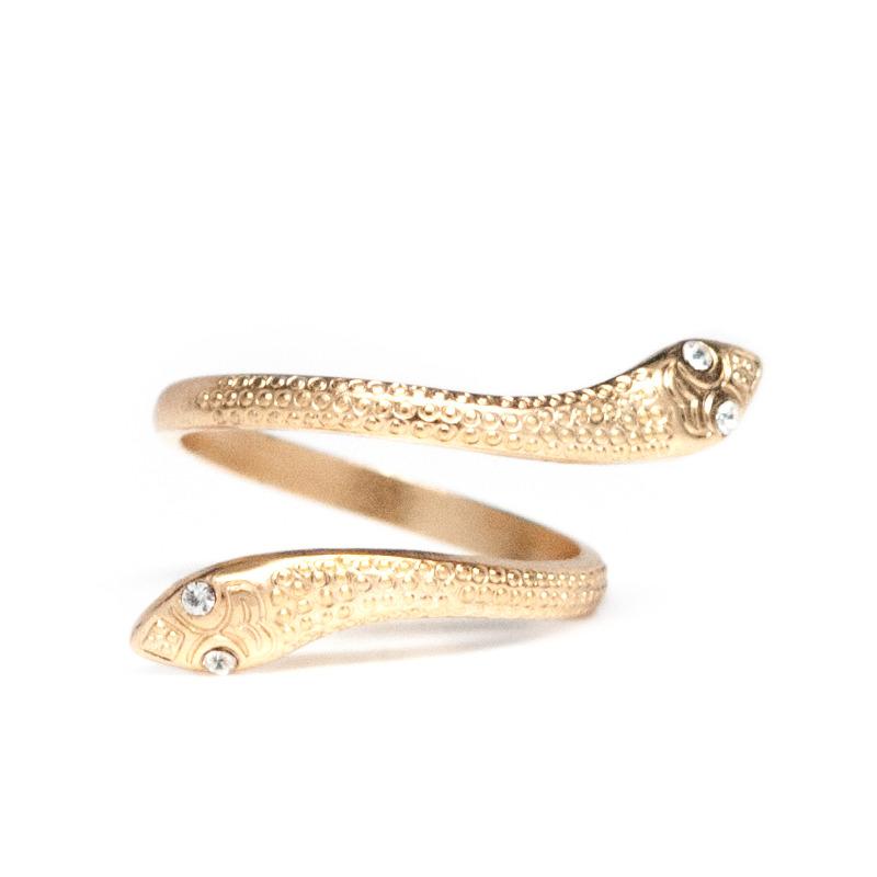 Angel Court Snake Ring in Adjustable Gold