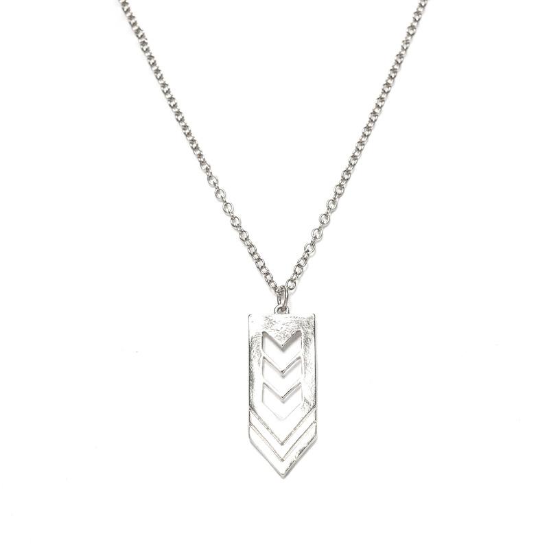 Urban Gem Chevron Pendant Necklace in Silver
