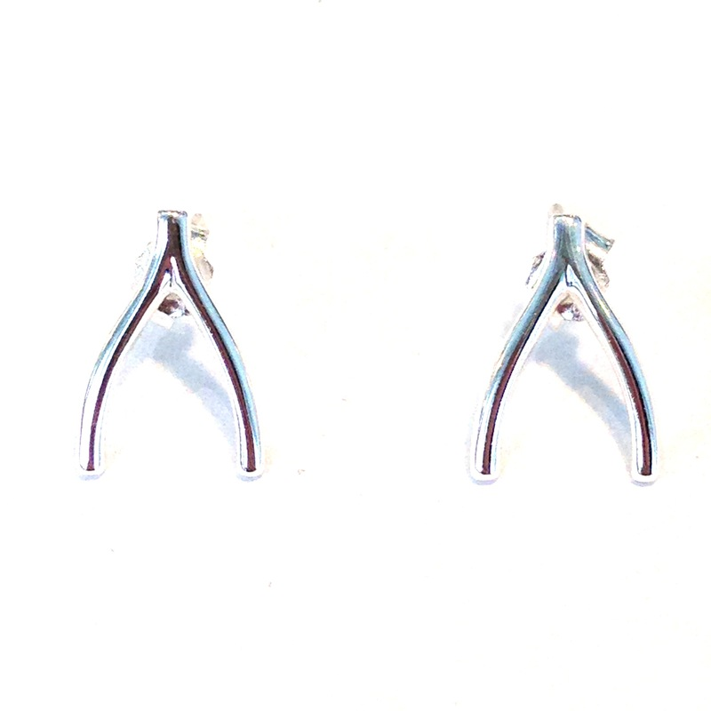 Urban Gem Wishbone Earrings in Sterling Silver