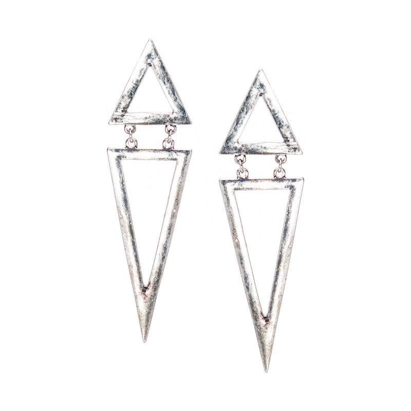 Urban Gem Pyramid Scheme Earrings in Antique Silver