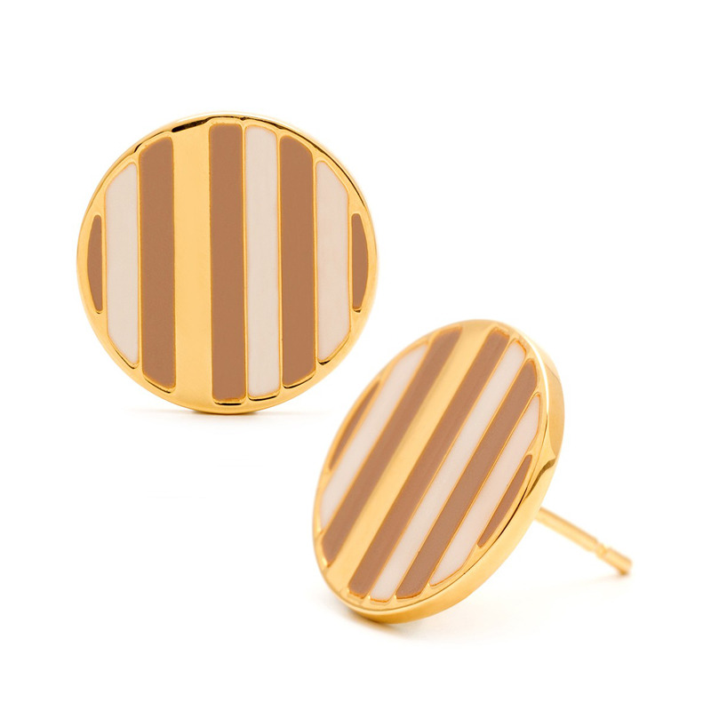 Gorjana Sea Stripe Circle Studs in Taupe