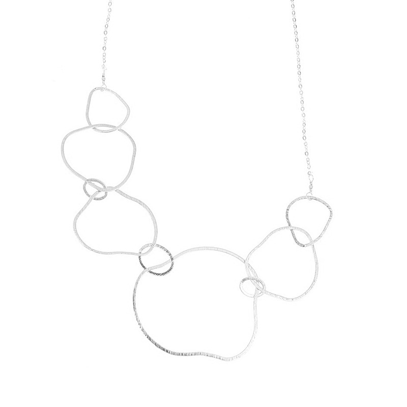 Charlene K Irregular Circles Short Necklace in Sterling Silver