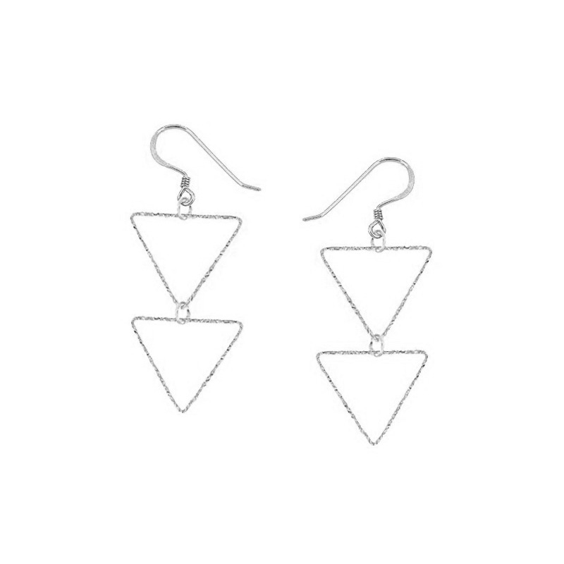 Charlene K Triangle Double Drop Earrings in Sterling Silver