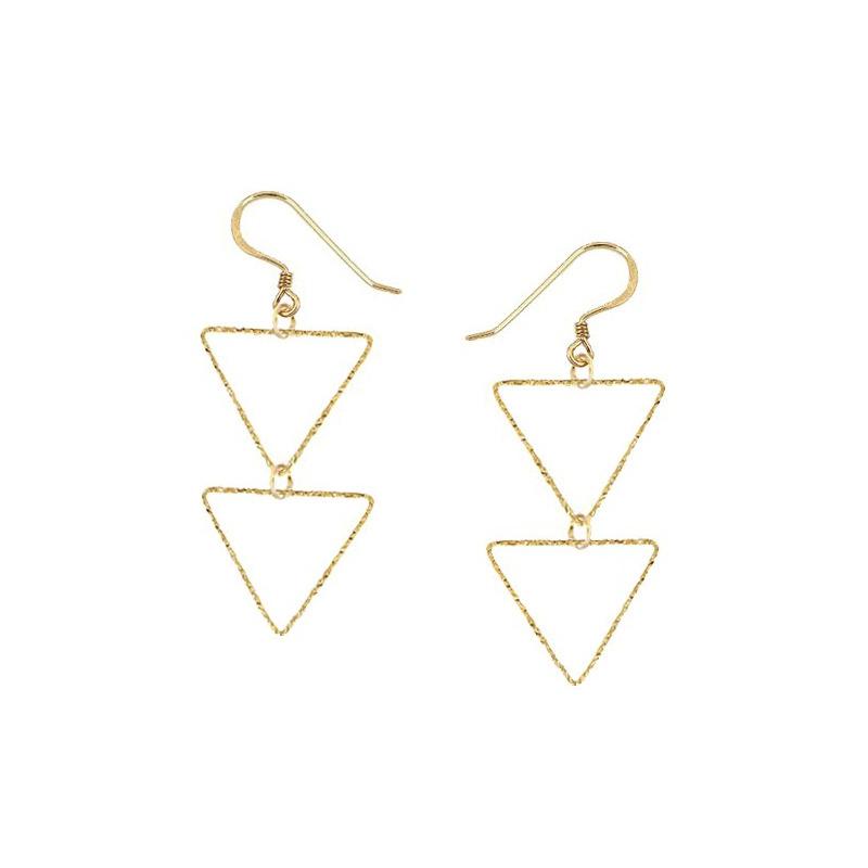 Charlene K Triangle Double Drop Earrings in 14kt Gold Plate