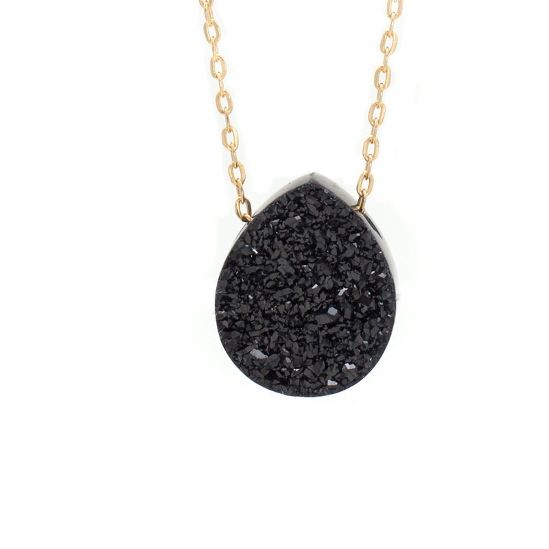 Kristine Lily Black Druzy Quartz and Gold Necklace in 14kt Gold-Fill