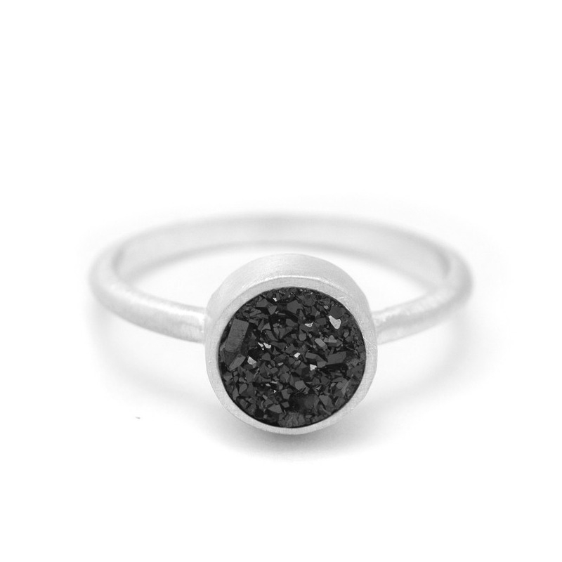 Kristine Lily Druzy POP Ring in Black Quartz and Silver