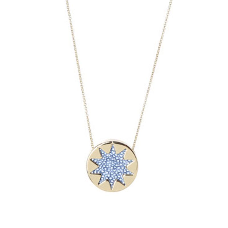 House of Harlow 1960 Sunburst Pendant Necklace in Sapphire Blue Faux Stingray