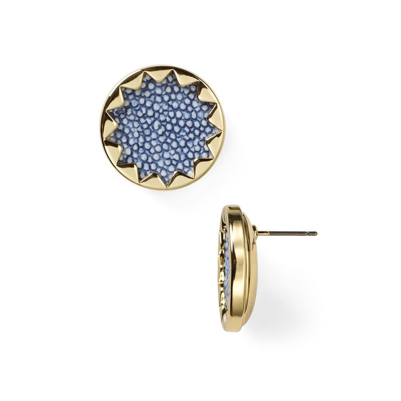 House of Harlow 1960 Sunburst Button Earrings in Sapphire Blue Faux Stingray
