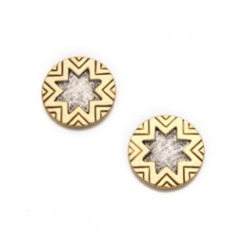 House of Harlow 1960 Engraved Sunburst Studs in Two Tone Crosshatch