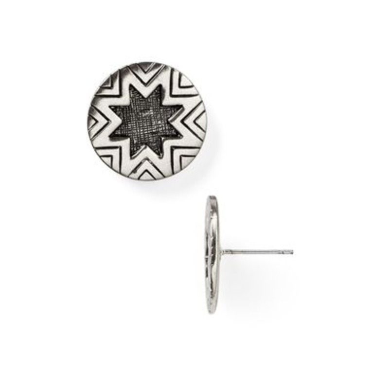 House of Harlow 1960 Engraved Sunburst Studs in Silver Crosshatch