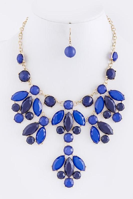 Urban Gem Gem Leaves Necklace in Royal Blue