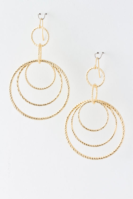 Urban Gem Circles Drop Earrings in Gold
