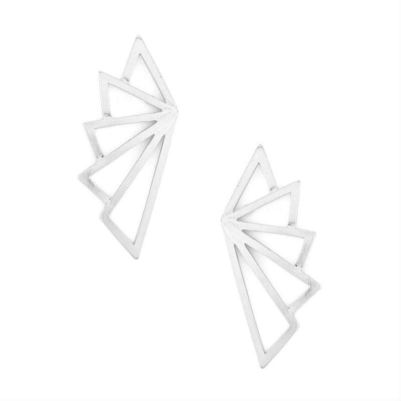 Urban Gem Fractal Triangle Earrings in Silver