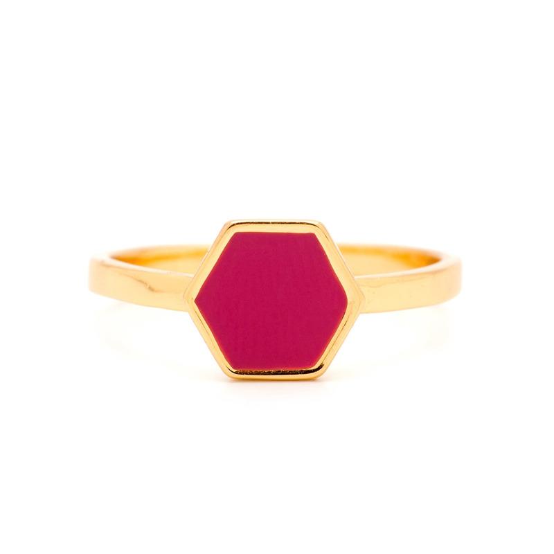 Gorjana Sunset Hexagon Ring in Fuchsia
