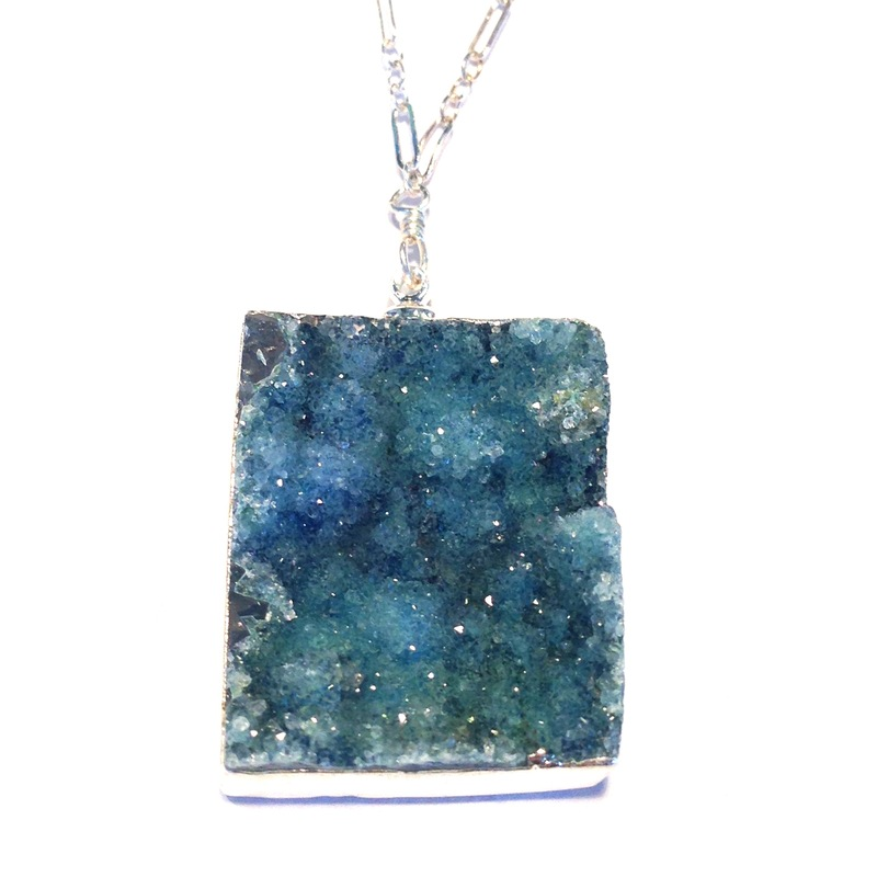 Robyn Rhodes Kallisto Raw Stone Pendant in Silver and Blue