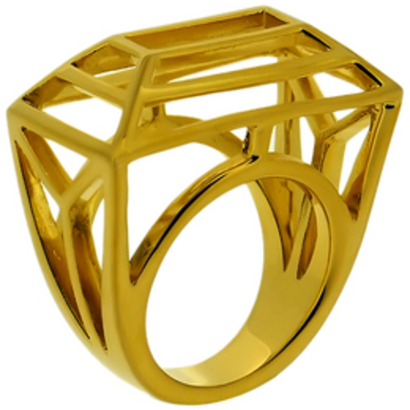 Lucas Jack Frame Wire Trapezoid Ring in Gold