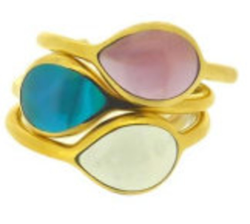 Lucas Jack Delicate Stacking Rings in Amethyst, Teal, and Aquamarine