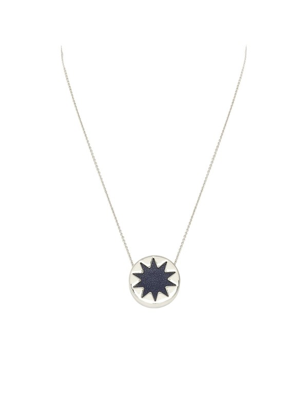 House of Harlow 1960 Mini Sunburst Pendant in Navy and Silver