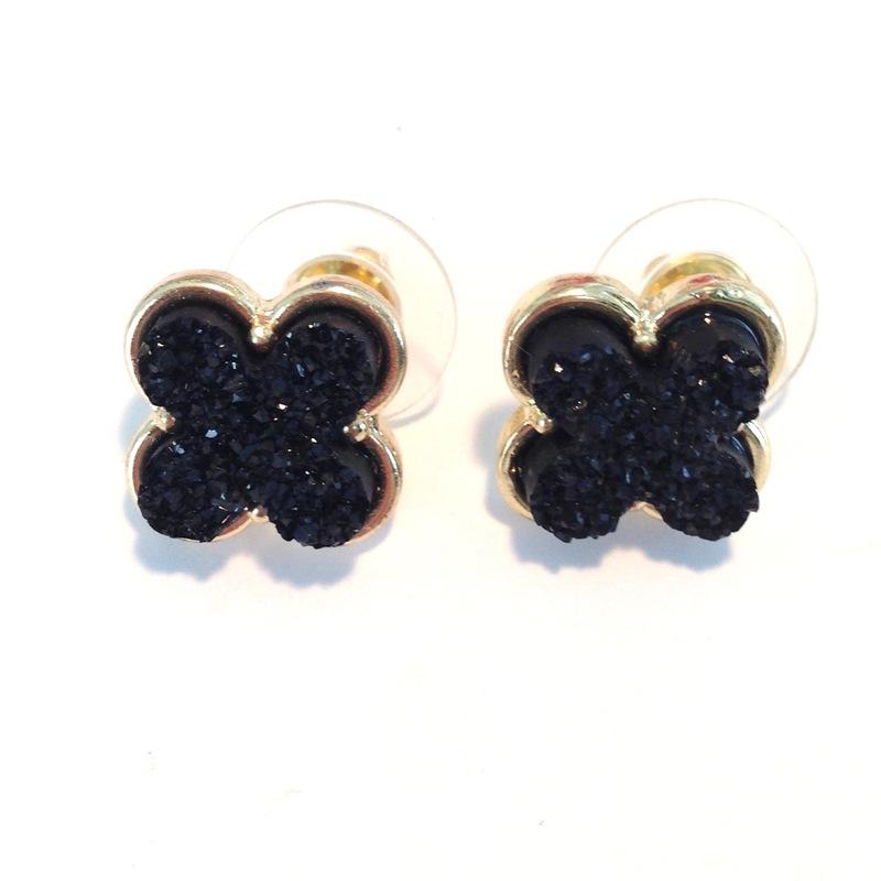 Urban Gem Druzy Clover Earrings
