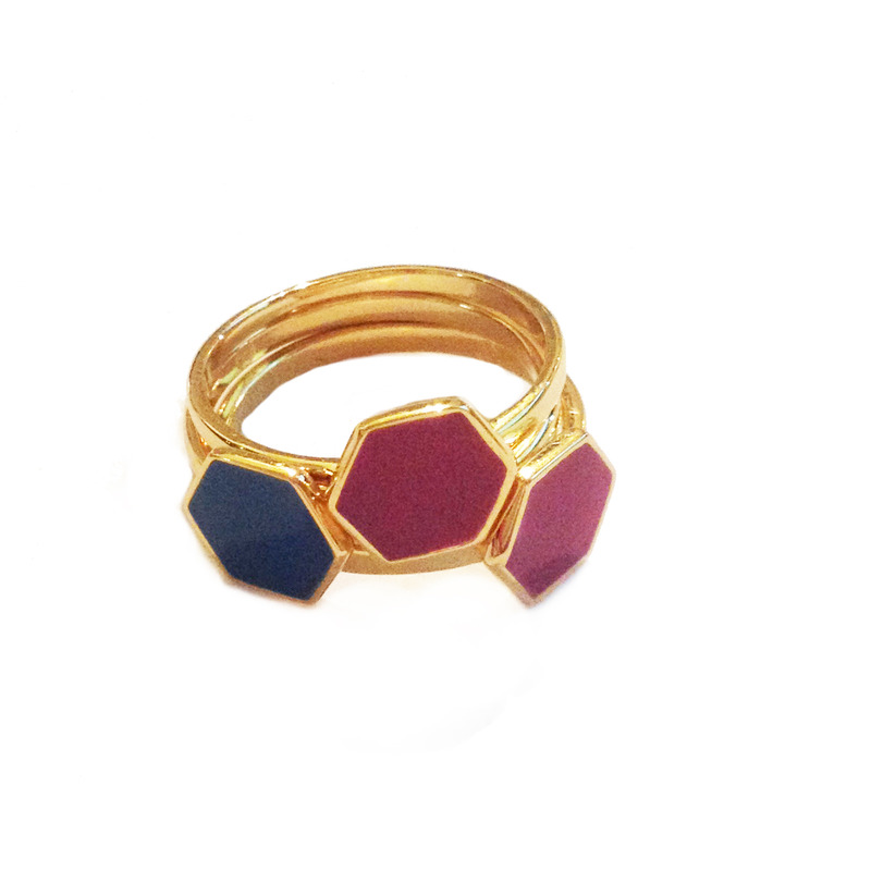 Gorjana Triple stack hexagon ring