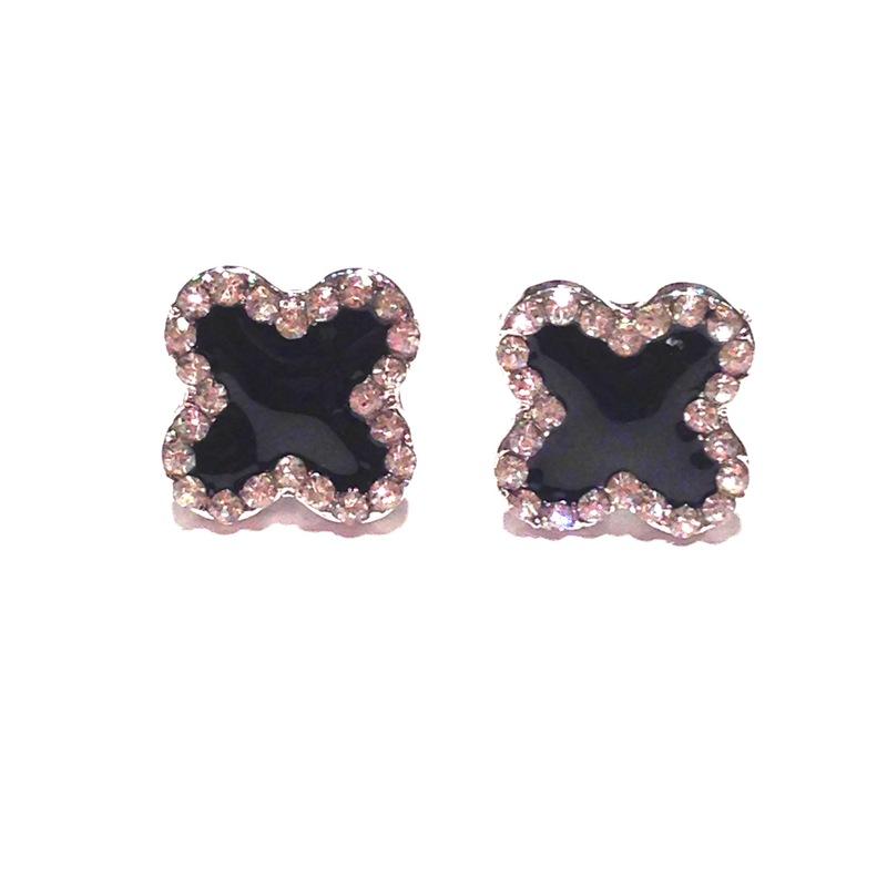 Urban Gem Black Clover Earrings