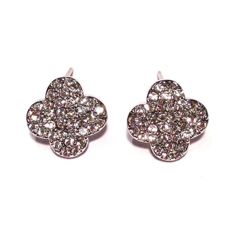 Urban Gem Clover & Crystal Earrings in Silver