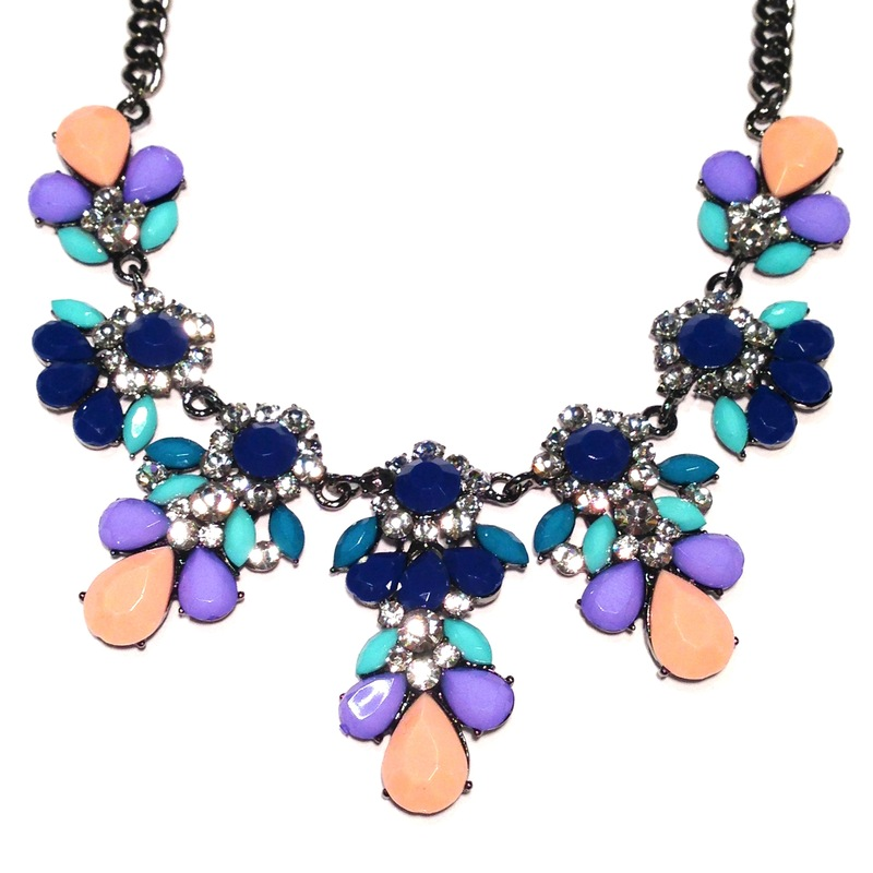 Urban Gem Statement in Navy and Lavender Collar Necklace