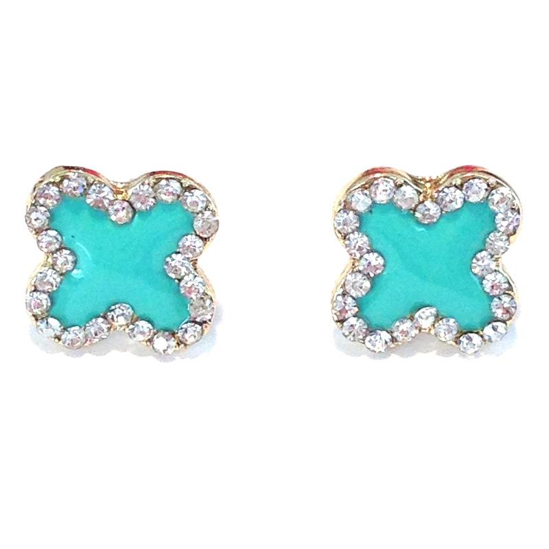 Urban Gem Mint Clover Earrings
