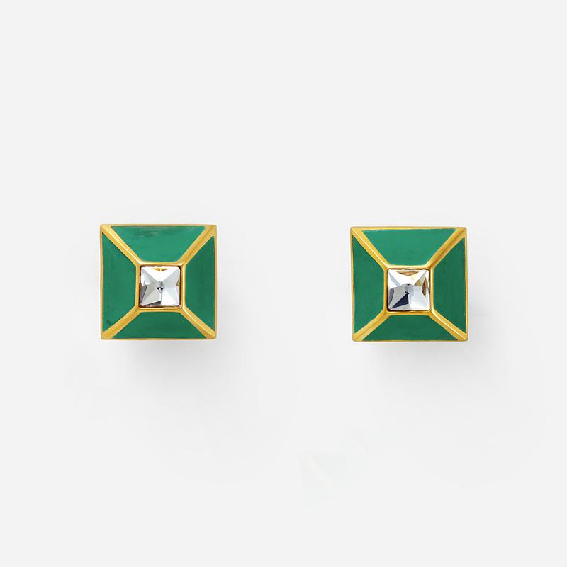 Isharya Malachite Pyramid Luxe Stud Earrings