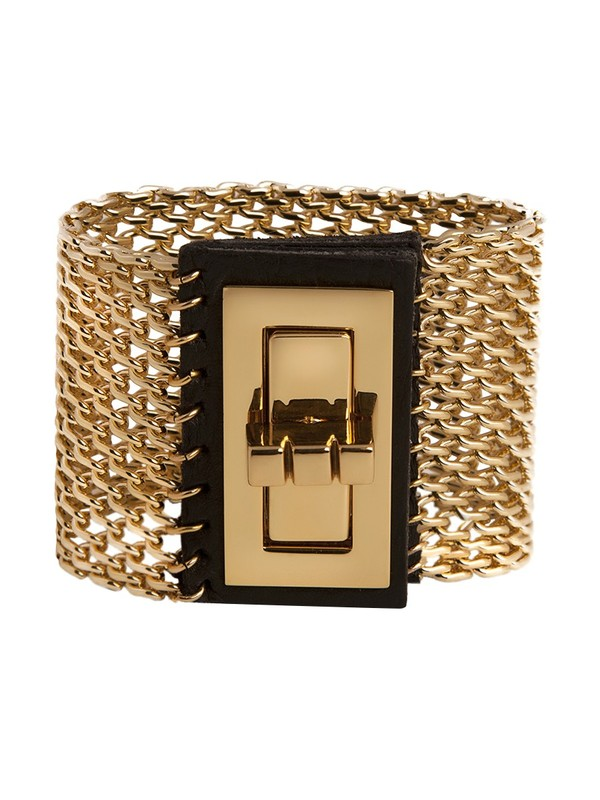 CC Skye Turnlock Leather and Cage Chain Cuff in Black