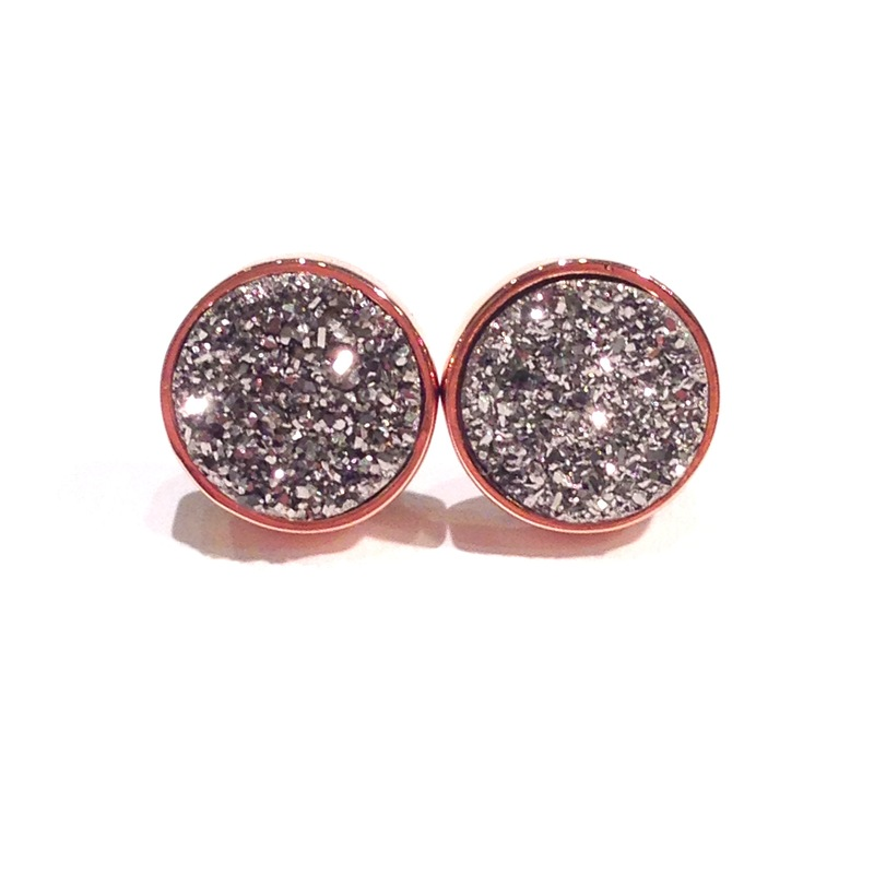 Urban Gem Grey Druzy Studs in Rose Gold