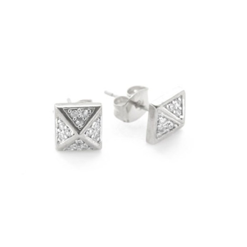 nOir Jewelry Classic Pyramid Stud Earrings in Silver