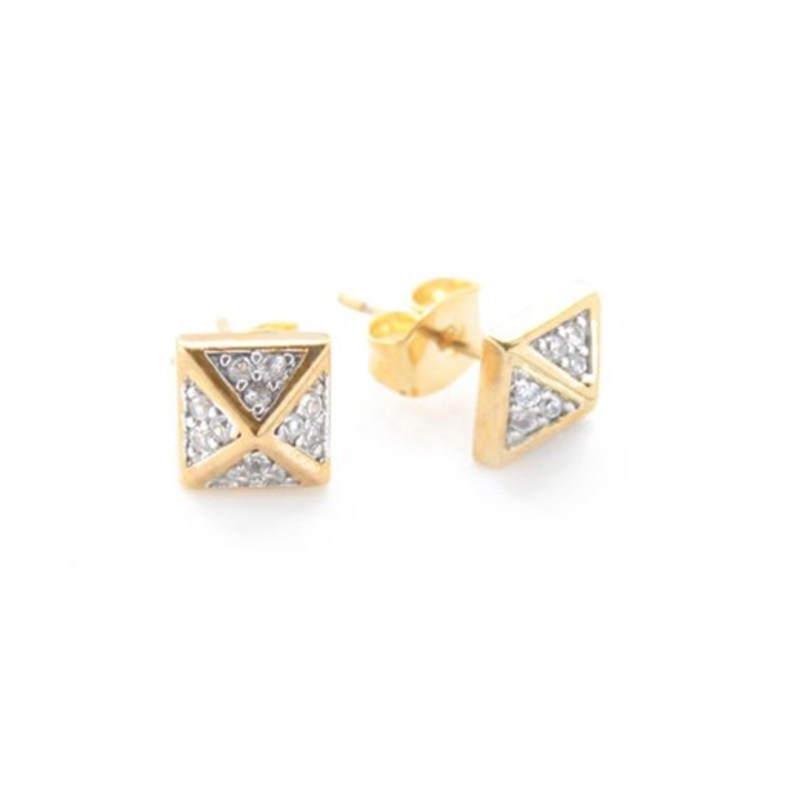 nOir Jewelry Classic Pyramid Stud Earrings in Gold