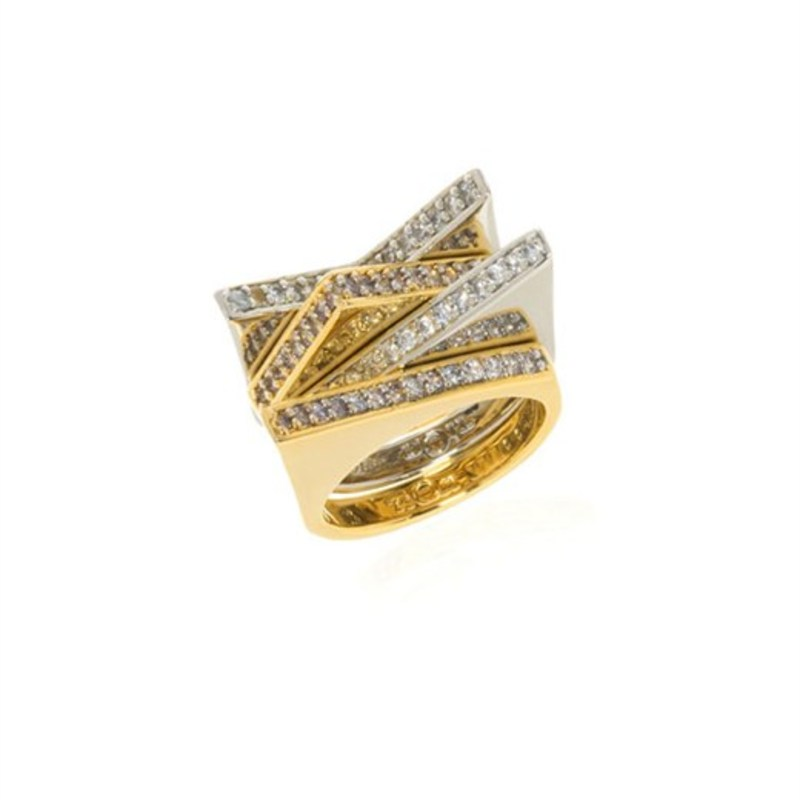 nOir Jewelry Asymmetrical Stackable Pyramid Ring Set