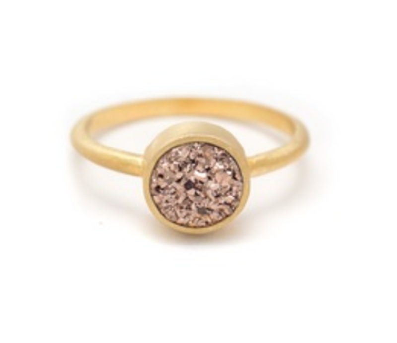 Kristine Lily Druzy POP Ring in Rose Gold Druzy and Yellow Gold
