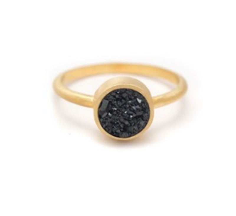 Kristine Lily Druzy POP Ring in Black Druzy and Yellow Gold